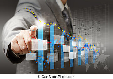 businessman hand touch virtual graph, chart, diagram