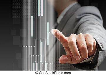 businessman hand touch virtual interface