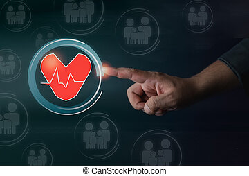 Businessman hand touch with diagram of heart virtual. Love and family insurance concept