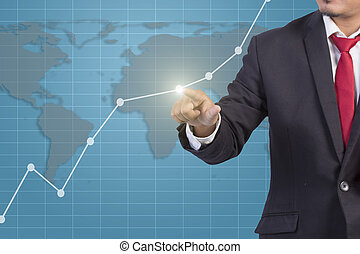 Businessman hand touching Graph on virtual screen