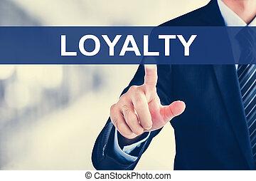 Businessman hand touching LOYALTY tab on virtual screen