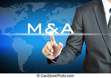 Businessman hand touching M & A on virtual screen - merger...