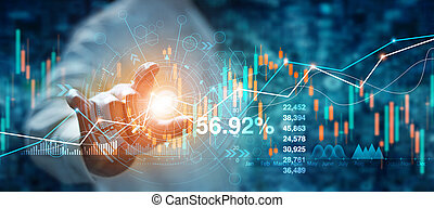 Businessman hand touching of forex graph growth interface and financial data analysis. Stock market on blue background.