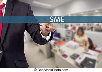 Businessman hand touching SME (Small and Medium Enterprises) sign on virtual screen