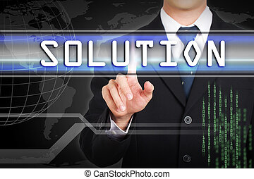 Businessman hand touching  Solution word by concept on screen.