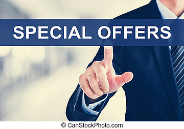 Businessman hand touching SPECIAL OFFERS tab on virtual screen