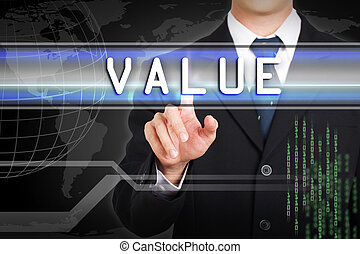 Businessman hand touching  Value word by concept on screen.