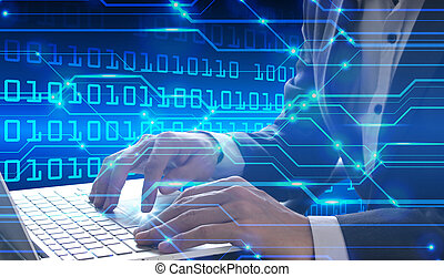 Businessman hand use laptop with digital technology