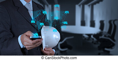 businessman hand use smart phone computer