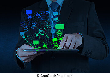 businessman hand use tablet computer with email icon