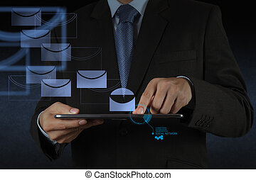 businessman hand use tablet computer with virtual email icon