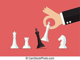 Businessman hand use white king checkmate the black king....