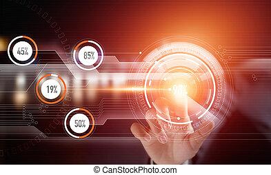 Businessman hand using modern technology future interface on virtual screen