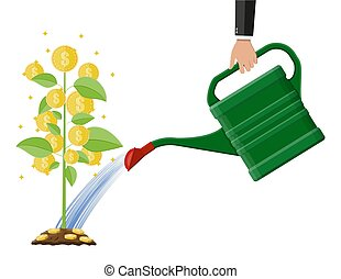 Businessman hand watering money coin tree with can