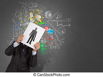 businessman hand with book choosing people icon as human...