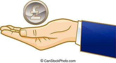 Businessman hand with British coin