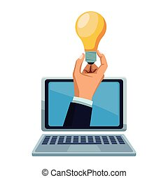 businessman hand with bulb light big idea on laptop screen