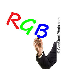 businessman hand with felt tip marker writing text RGB