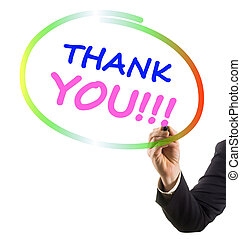 businessman hand with felt tip marker writing text thank you