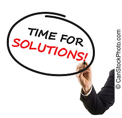 businessman hand with felt tip marker writing text time for solutions