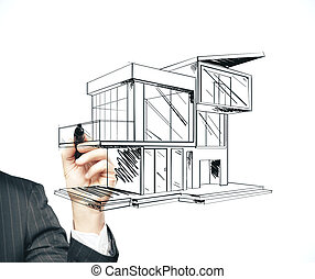 Businessman hand with pen drawing cottage