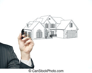 Businessman hand with pen drawing house