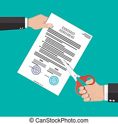 Businessman hand with scissors cutting contract