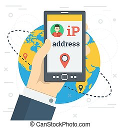 Businessman hand with smart phone and IP address