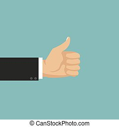 Businessman hand with thumb up. Vector illustration
