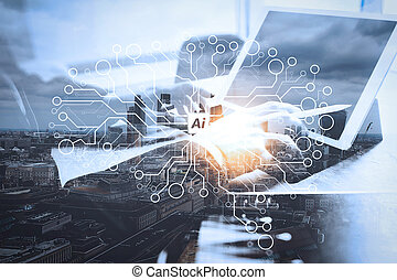 Artificial Intelligence (AI),machine learning with data mining technology on virtual dachboard. Double Exposure, Businessman hand working concept. Documents finance graphic chart.
