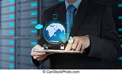 Businessman hand working with 3d globe with Cloud Computing diagram on the new computer interface as concept security