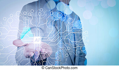 Artificial Intelligence (AI),machine learning with data mining technology on virtual dachboard. Businessman hand working with 3d light bulb of leadership concept.