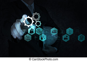 businessman hand working with new computer interface show building development concept