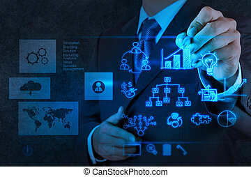 businessman hand working with new modern computer and ...