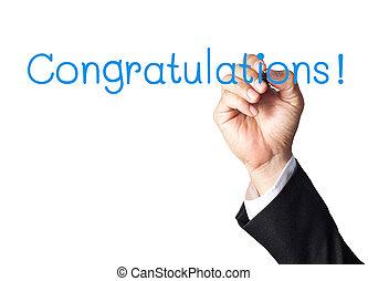 businessman hand writing congratulations on white board