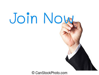 businessman hand writing join now on white board
