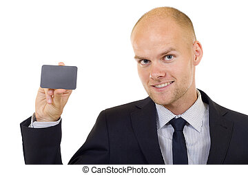 Businessman handing a blank card
