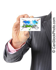 Businessman handing a card