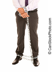 Businessman hands and legs fettered with chain, job slave...