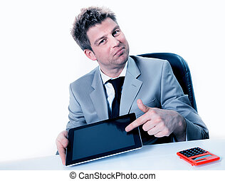Businessman hands are pointing on touch screen device