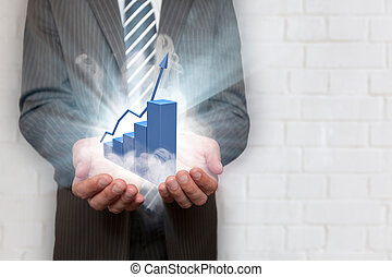 Businessman Hands Blue Chart Smoke