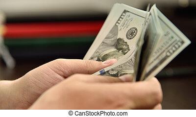 Businessman hands count money cash