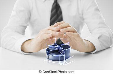 businessman hands covering percentage pie