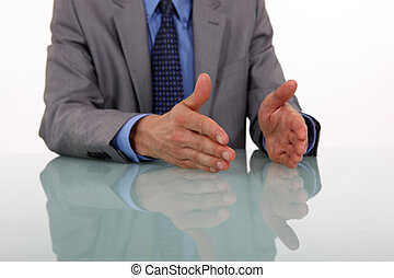businessman hands gesturing while speaking