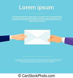 Businessman Hands Give Envelope Flat Vector