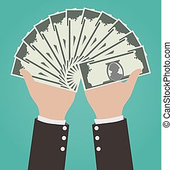 Businessman Hands Giving Money, Financial Concept