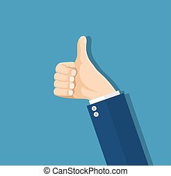 Businessman hands hold thumbs up.