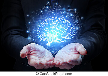 Artificial mind concept - Businessman hands holding abstract...