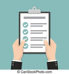 Businessman hands holding clipboard checklist in a flat design