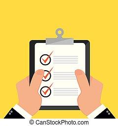 Businessman hands holding clipboard checklist in a flat design.